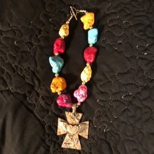 Jewelry - Large chunky bead necklace with cross pendant